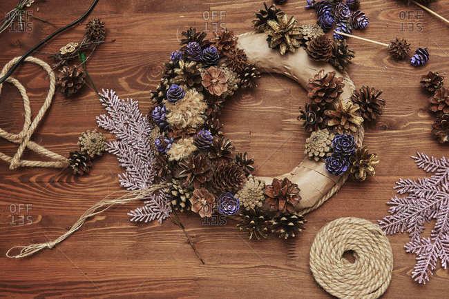 Christmas, advent decorative wreath candle decoration