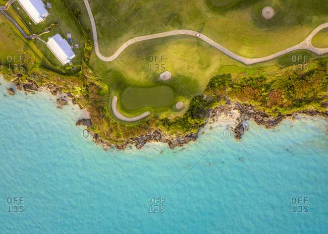 A golf course near the ocean in Bermuda