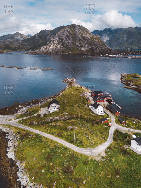 Scenic view of houses in Lofoten islands in a sunny day