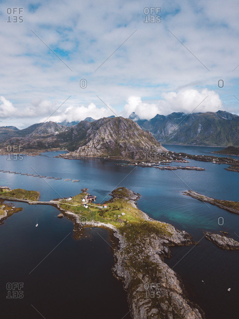 Scenic view of Lofoten islands in a sunny day
