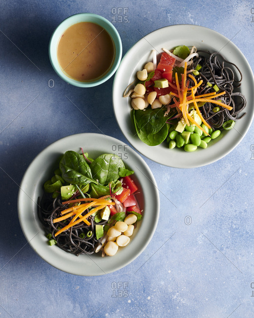 Vegan plant based bowl with peanut dressing