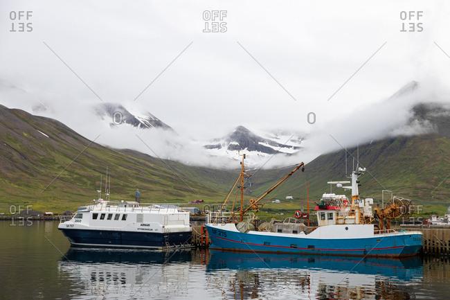 Stykkisholmur, Iceland - July 8, 2019: Boats on the coast of Iceland