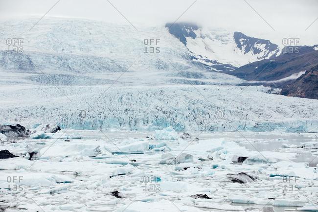 Beautiful frozen Icelandic landscape