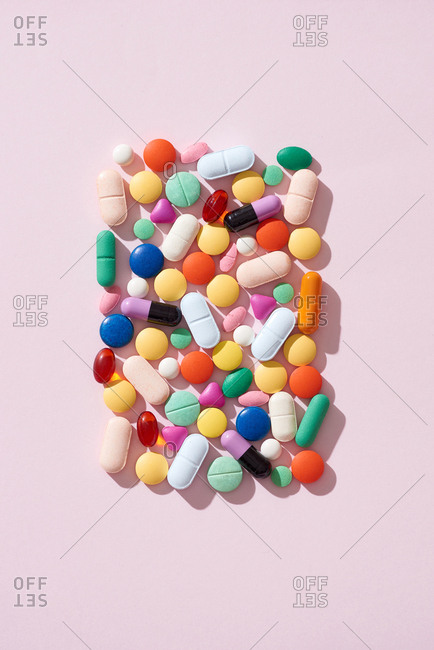Heap of colorful medicine pills.