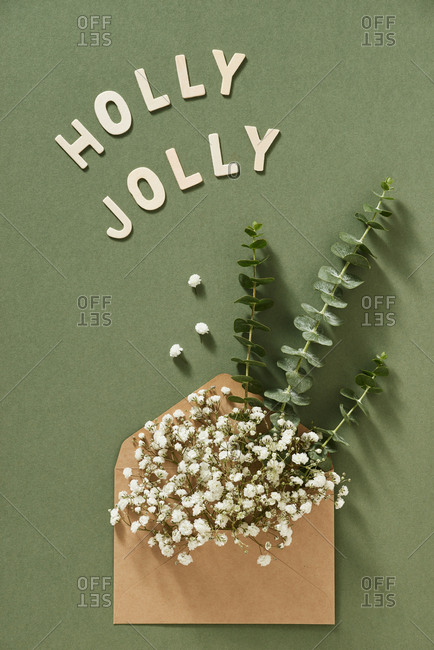 Christmas tree branches with flowers in envelope on green background