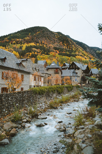 Village with autumn trees in the background