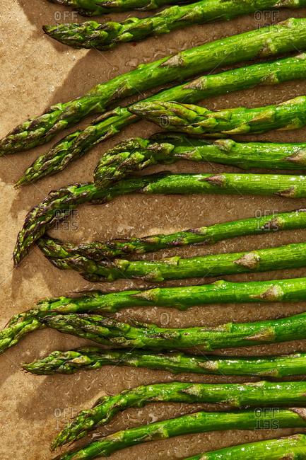 Fresh wet green asparagus