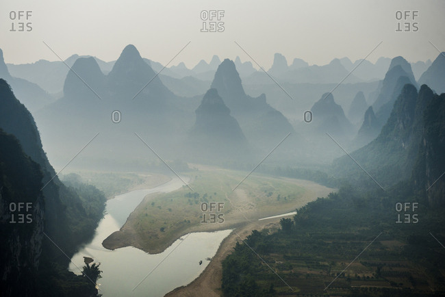 High angle idyllic view of mountain ranges during foggy weather