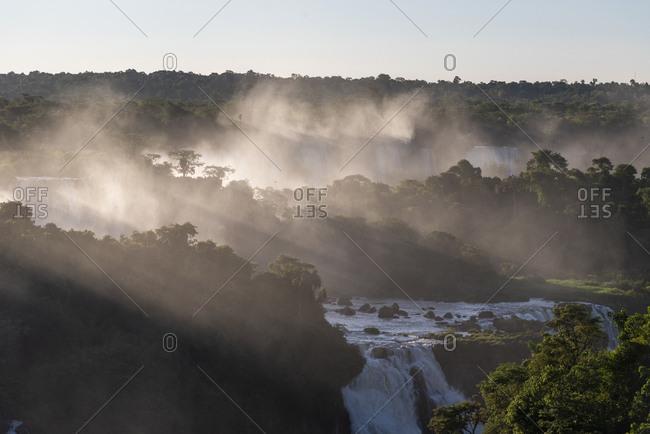 Beautiful landscape of big waterfall set on the rainforest