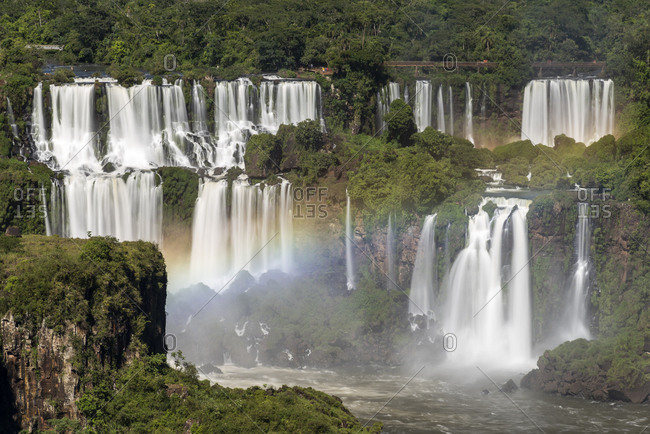Beautiful landscape of rainbow and big waterfalls in the rainforest