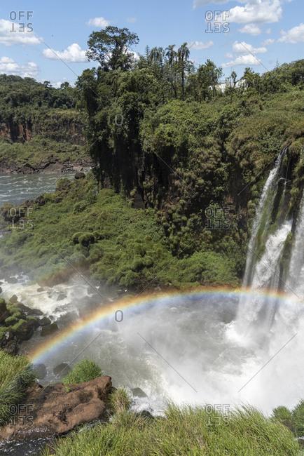 Beautiful landscape of big waterfall set on green atlantic rainforest