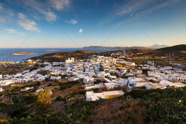 Chora village on Kimolos and Milos island in the distance.