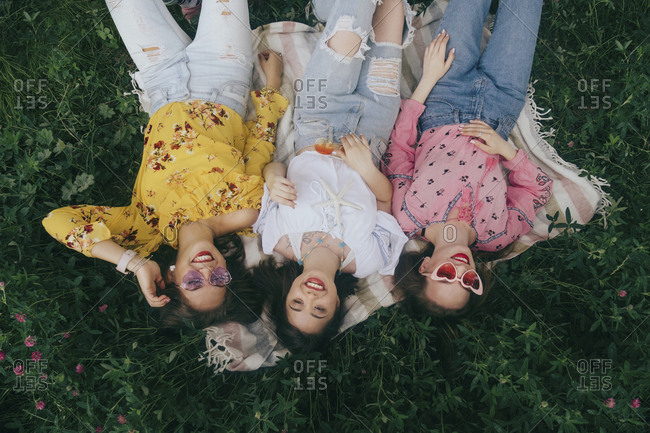 High angle view of happy female friends lying on picnic blanket amidst plants in forest