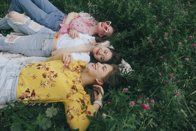High angle view of happy female friends lying on field amidst plants in forest
