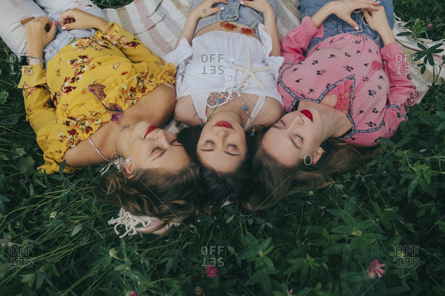 High angle view of female friends sleeping on field amidst plants in forest
