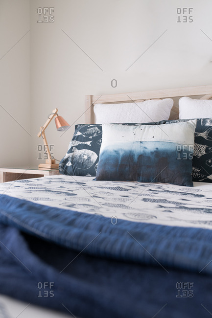 Layers of blue styled bed linen