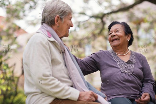 Elderly women sitting on bench in park smiling happy life long friends enjoying retirement