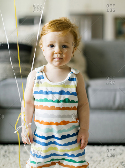 Baby boy wearing striped romper
