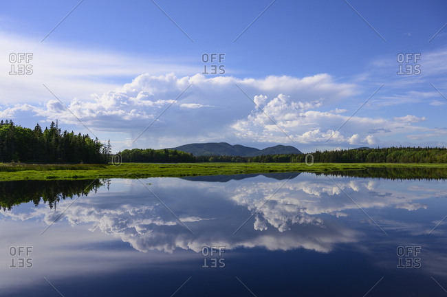 Clouds reflected in Bass Harbor Marsh, Mount Desert Island, USA