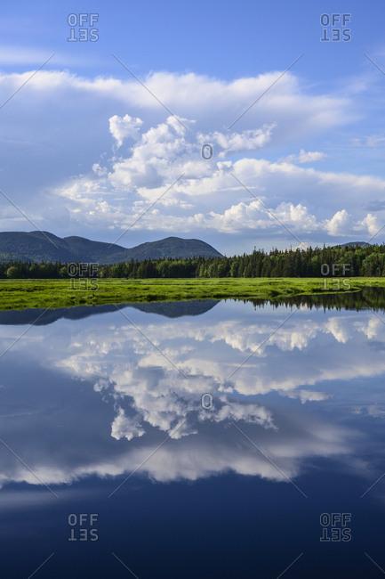 Clouds reflected in Bass Harbor Marsh, Mount Desert Island, USA