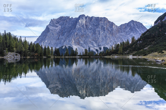 Mirroring of the zugspitze in the seebensee, austria, tyrol