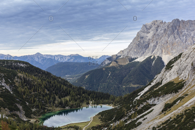 Austria, tyrol, seebensee in front of zugspitze