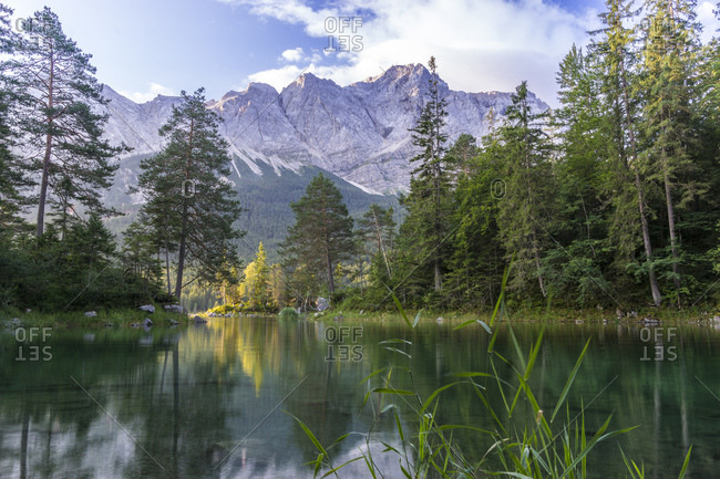 Germany, bavaria, bavarian alps, grainau, morning mood at the eibsee with view at the zugspitze