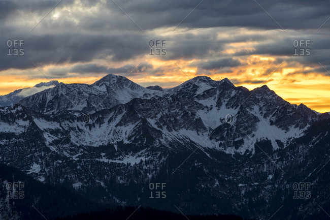 Germany, bavaria, bavarian alps, walchensee, view of the herzogstand house on the karwendel at sundown
