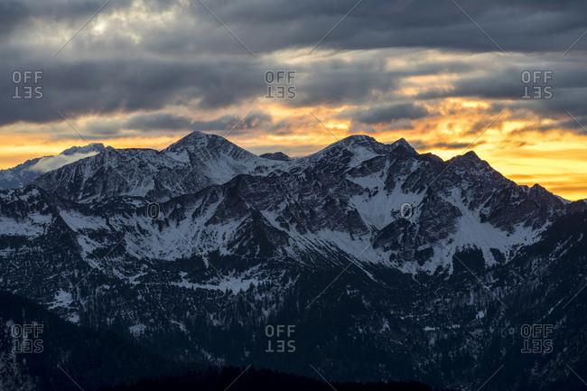 Germany, bavaria, bavarian alps, walchensee, view of the herzogstand house on the karwendel at sundown