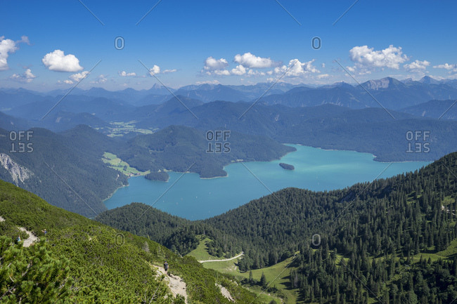 Germany, bavaria, bavarian alps, walchensee, view of the herzogstand on the summery walchensee