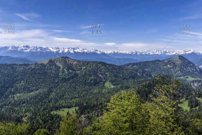 Germany, bavaria, bavarian alps, jachenau, view of the summit of the benediktenwand on the karwendelgebirge