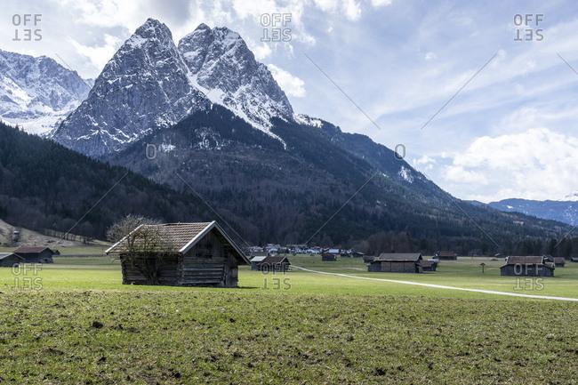 Germany, bavaria, bavarian alps, garmisch-partenkirchen, view of hammersbach on the waxensteine in the spring