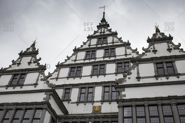 Germany, north rhine-westphalia, paderborn, central city, notch of the gable facade of the historical paderborner of city hall, landmark, , weser renaissance, in 1613in 1620,