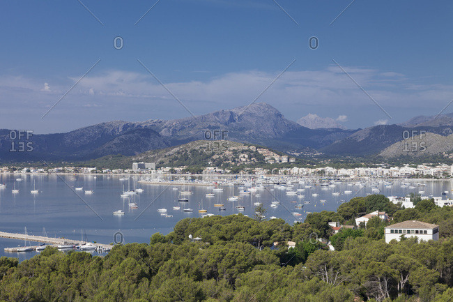 View over port de pollenca to the sierra de tramuntana, pollenca, majorca, the balearic islands, spain