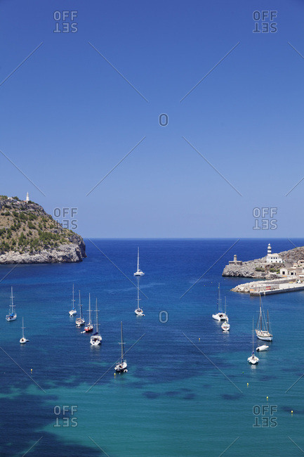 Port entrance with two lighthouses, port de soller, majorca, the balearic islands, spain
