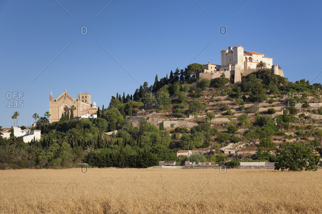 Parish church transfiguracio del senyor and pilgrimage church sant salvador on the calvary, arta, majorca, the balearic islands, spain