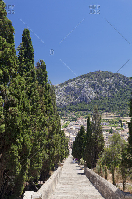 Ascent to the calvary, in background  the cloister on the puig de maria, pollenca, majorca, the balearic islands, spain