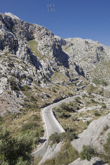 Serpentine road to the cala de sa calobra, serra de tramuntana, majorca, the balearic islands, spain