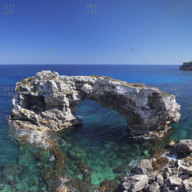 Rock gate es pontas near cala santany, southeast coast, majorca, the balearic islands, spain