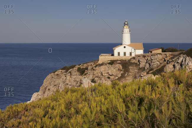 Lighthouse at cap de capdepera, the most eastern point of majorca, the balearic islands, spain
