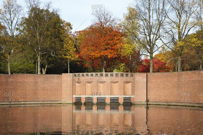 Goldbekkanal in the town park in winterhude in autumn.