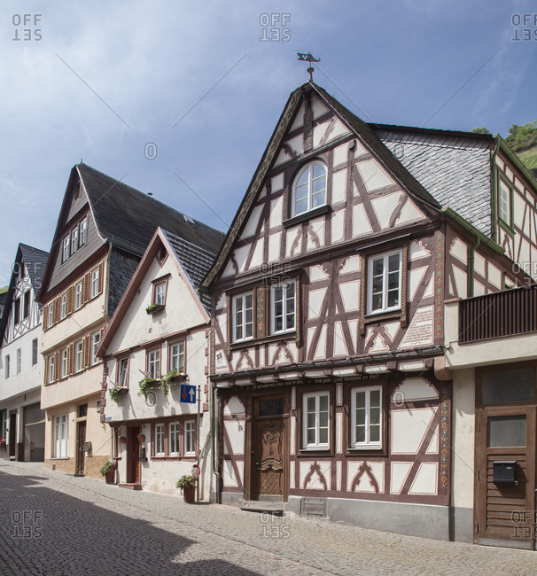 May 21, 2014: old town with half-timbered houses, bacharach am rhein, unesco world cultural heritage upper middle rhine valley, rhineland-palatinate, germany,