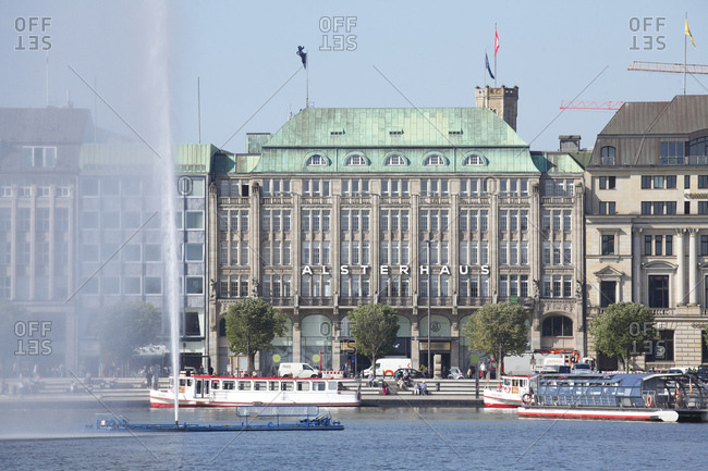 August 5, 2015: jungfernstieg with alterhaus, the inner alster and pier, neustadt, hamburg, germany,