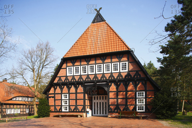 April 11, 2009: jugendhof sachsenhain, half-timbered house, verden, lower saxony, germany,