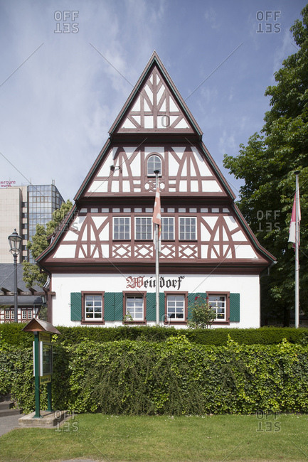 June 8, 2014: weindorf, historical half-timbered house, koblenz, rhineland-palatinate, germany