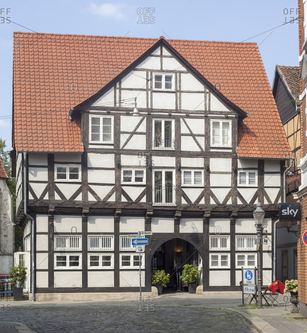 August 10, 2015: germany, lower saxony, brunswick, half-timbered house in the magniviertel (district)