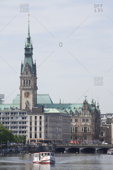 April 29, 2014: the inner alster with alsterschiff (ship) and the city hall of hamburg, hamburg, germany, europe