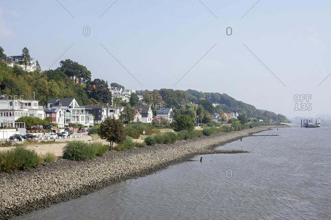 September 16, 2014: bank of the river elbe with treppenviertel (district), blankenese, hamburg, germany