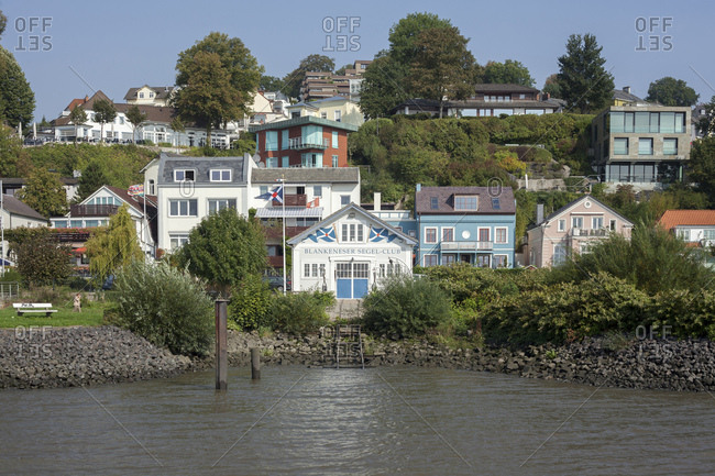 September 16, 2014: bank of the river elbe with treppenviertel (district), blankenese, hamburg, germany