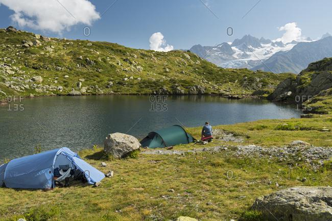 September 11, 2016: tents at the lacs des cheserys, aiguille du chardonnet, aiguilles verte, haute-savoie, france